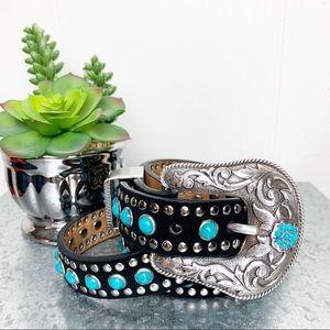 Nocona Western Embellished Turquoise Silver belt